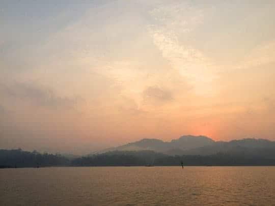 Sunset over Sangkhlaburi lake