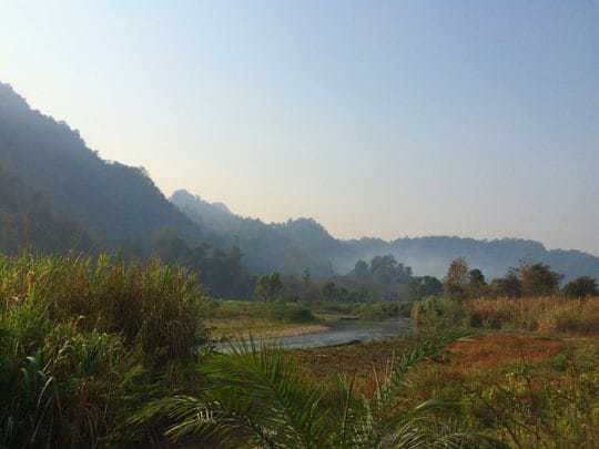 Beautiful valley scenery in Sangkhlaburi