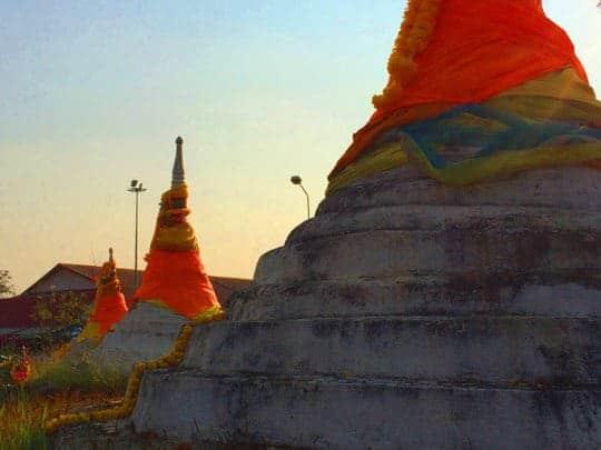 A row of stupas in Sangkhlaburi, Thailand
