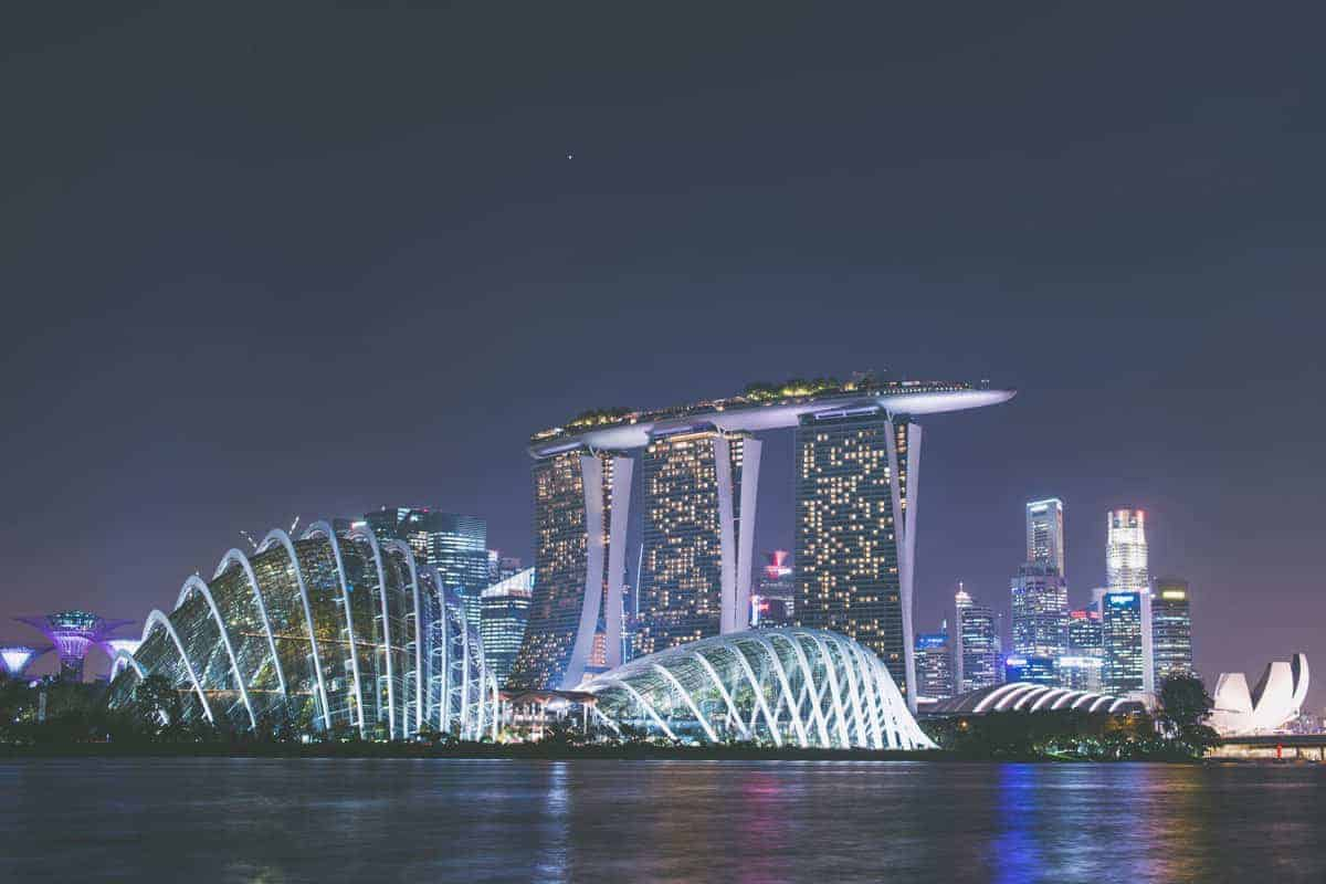 Marina Bay Sands Luxury Hotel - Singapore by night.