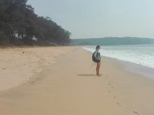 Nikki Stands on a Desterted Galgibaga Beach