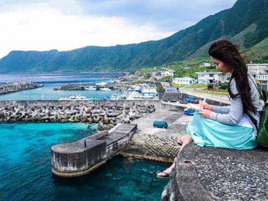 3 Girl writing post card, Orchid island, Taiwan
