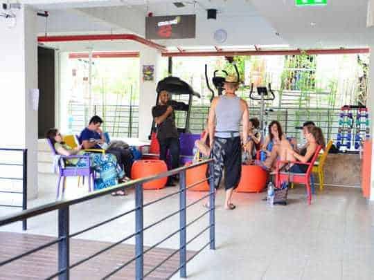 Hangout area brickhouse hostel
