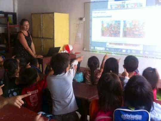 Children learning with the new digital system