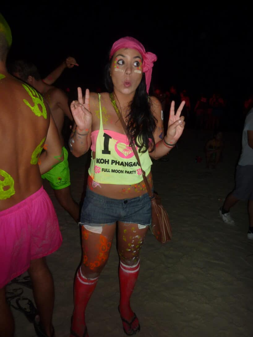 Neon girl at Full Moon Party