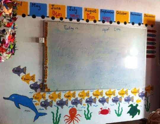 Painting the kindergarten classroom