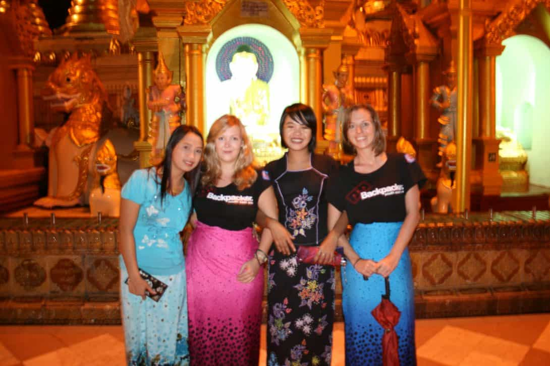 Taking photos with locals at Shwedagon Pagoda, Yangon.