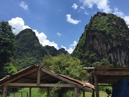 Blue skies above the limestone mountains in Vang Vieng Laos