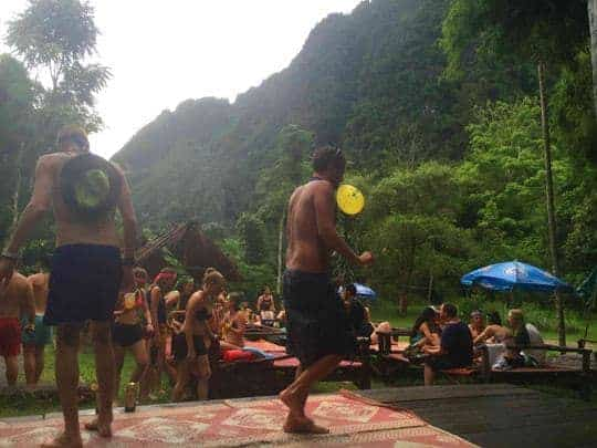 Tourists party at river bar vang vieng