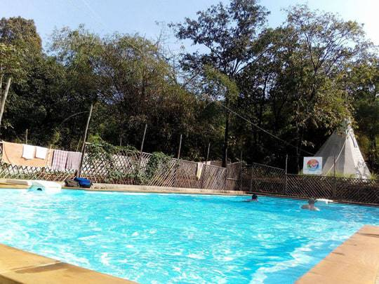 Outdoor swimming pool at jungle dance, Becoming a Yoga Teacher in India