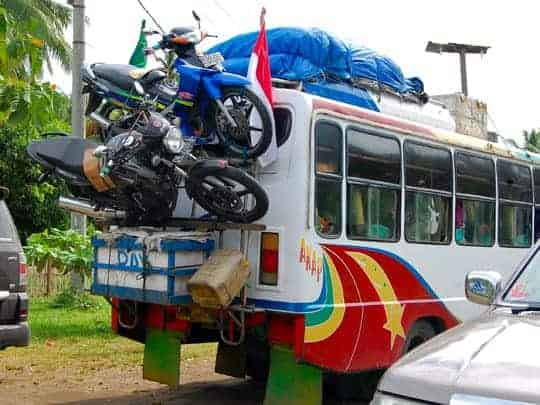motorbikes on the back of a bus, Tourist Hotspots