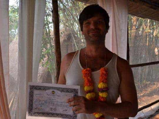 Yoga Teacher Training Student Qualifies at Parimukti, Goa, India.