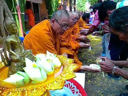 Songkran traditional, monks blessing.