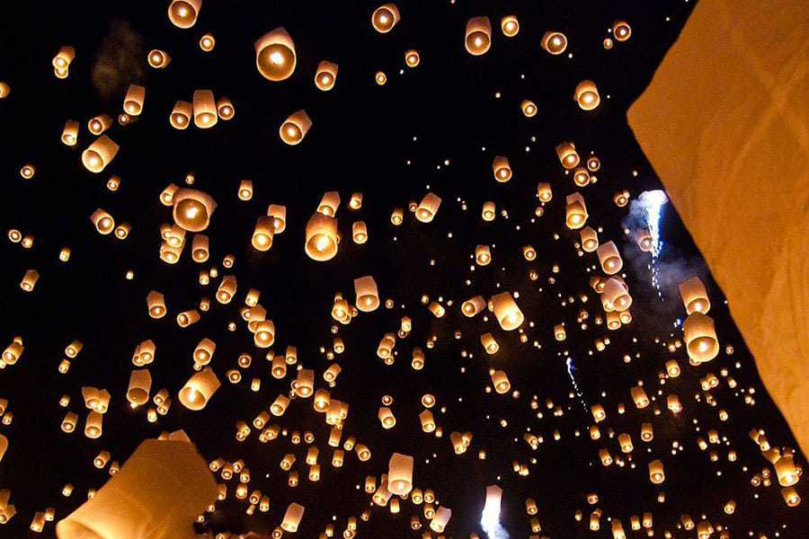 Lanterns Released at Loi Krathong Festival, Thailand.