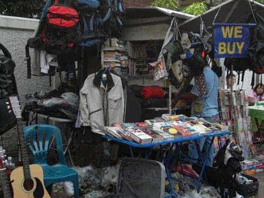 Travel eco-friendly. Sell your stuff on the Khao San Road in Bangkok before you fly home.