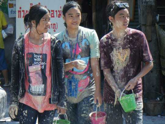 Talcum powder at Songkran.