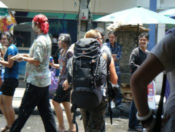 A backpacker caught up in Songkran in Thailand.