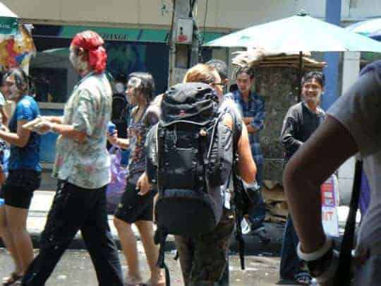 Backpacker travelling during Songkran
