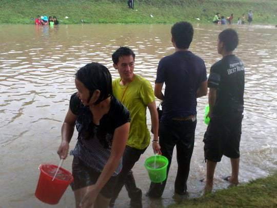 Moat water used in Chiang Mai at Songkran
