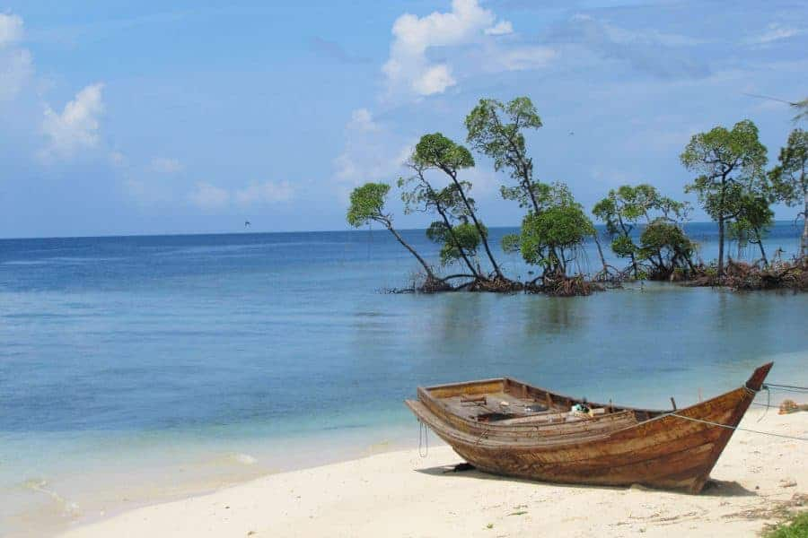 A boat on the beach on the Andaman Islands