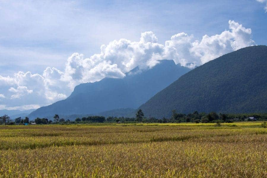 A mountain in the background across a valley, Chiang Dao