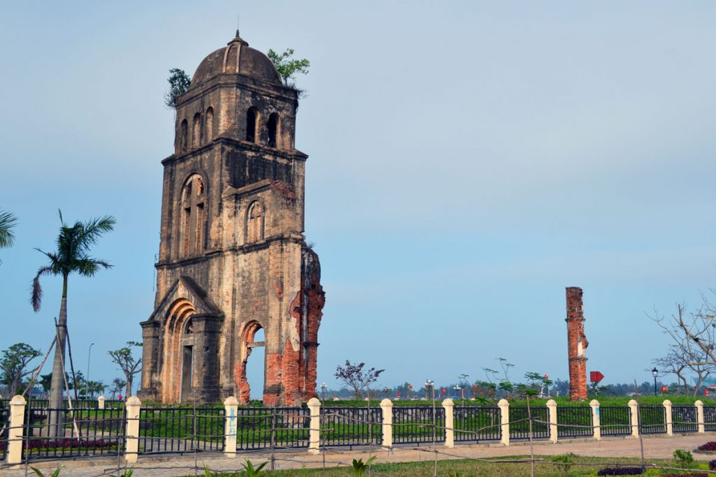 What's left of a ruined church stands proud in Dong Hoi, Vietnam