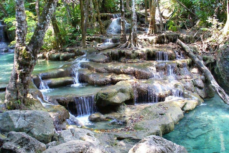Multi-tiered stages of rocks at Erawan waterfalls, Kanchanaburi, Thailand