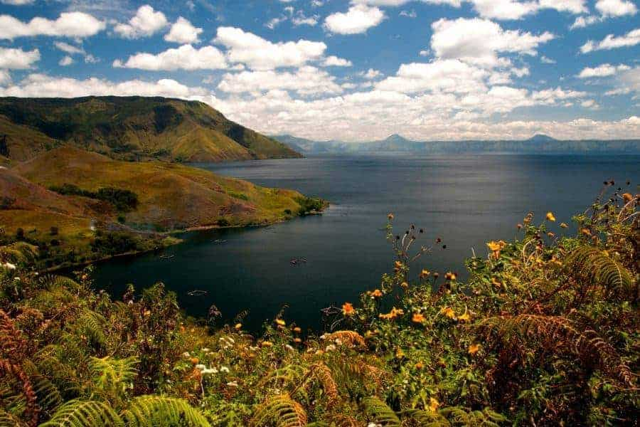 View of Lake Toba from Pulau Samosir, Sumatra.