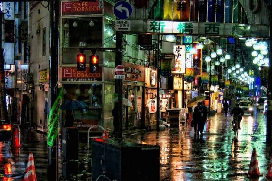 Colourful street at night in the rain in Japan