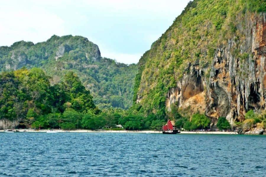 Castes seen across the water in Krabi