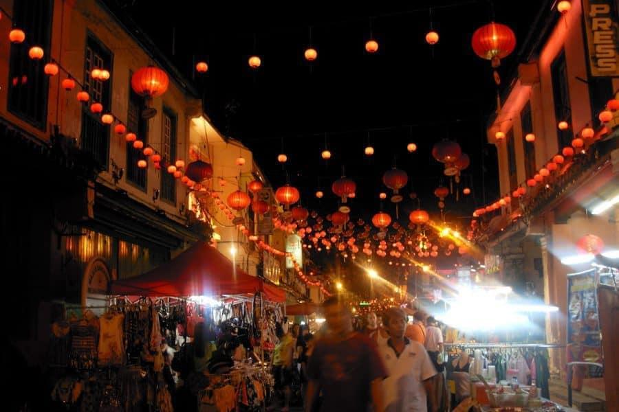 A street at night in Melaka