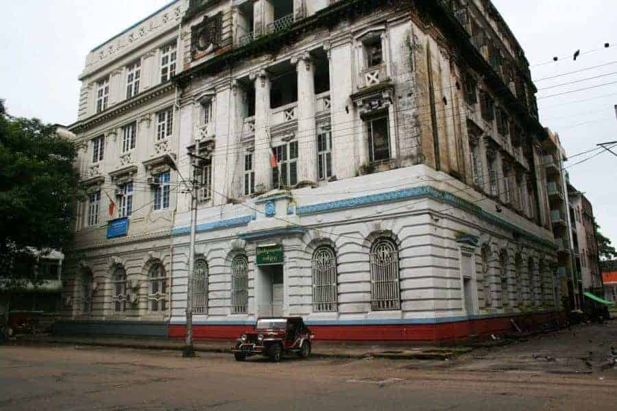 Colonial buildings of Yangon, Myanmar.