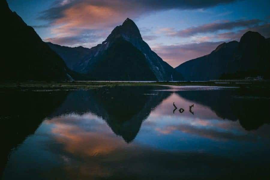 Mountains reflected in a lake New-Zealand-Jasper-Van-Der-Meij