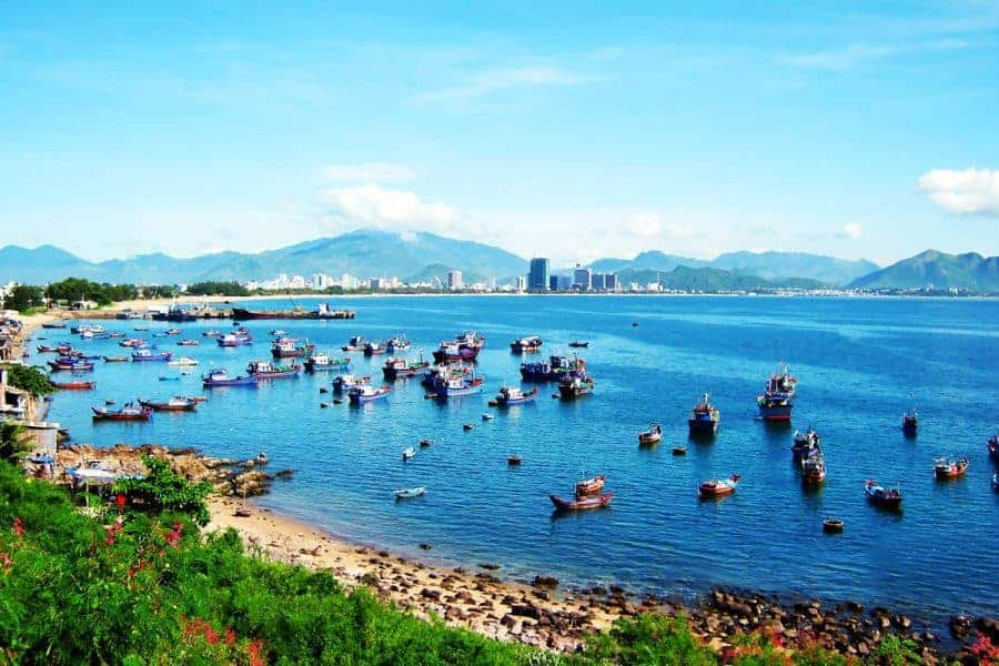Boats on the water seen from a distance in Nha Trang, Vietnam