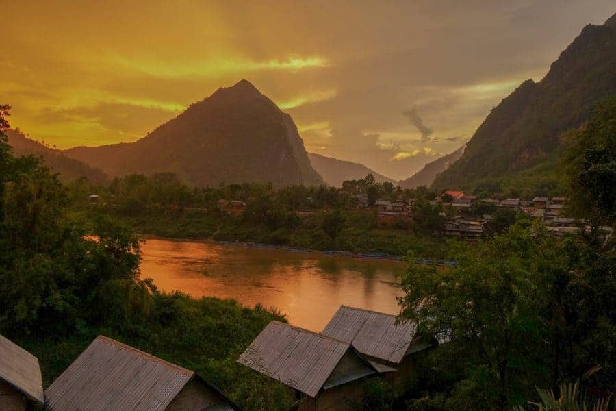 A view across a lake in Nonk Khiaw, Laos.
