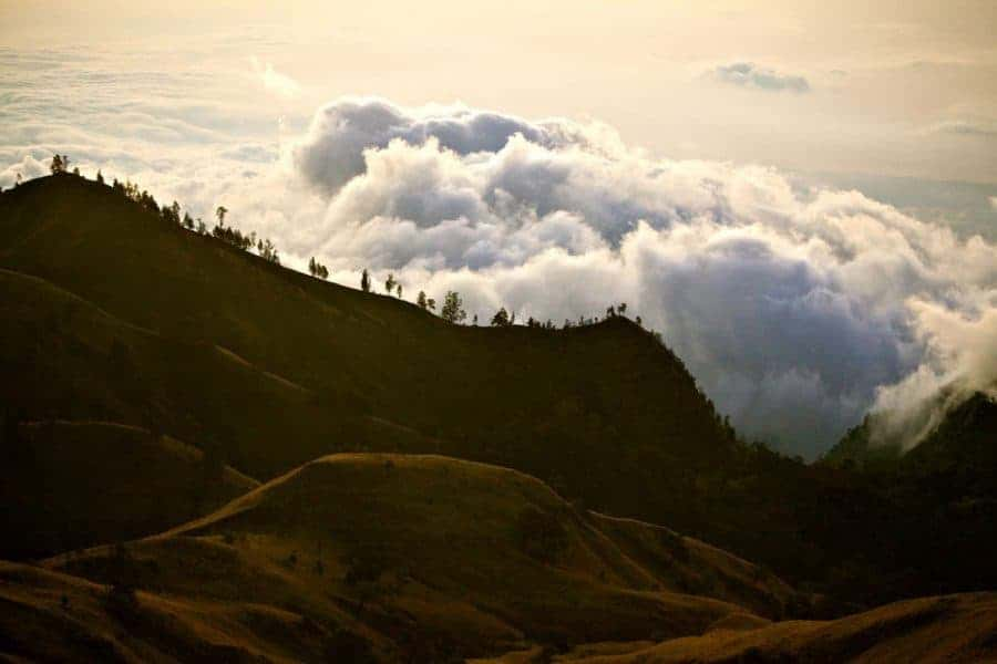 Clouds over Mount Rinjani, Lombok, Indonesia.