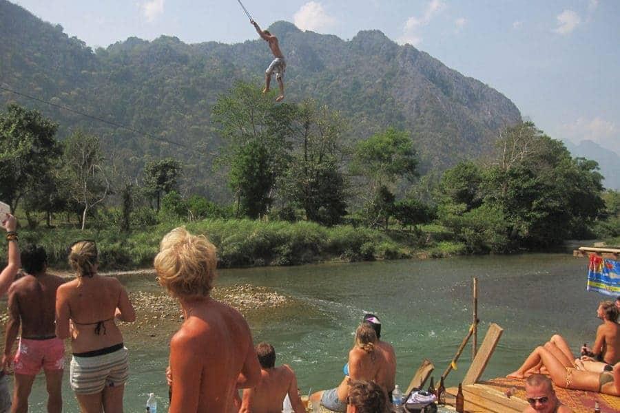 Tubing in Vang Vieng in 2010.