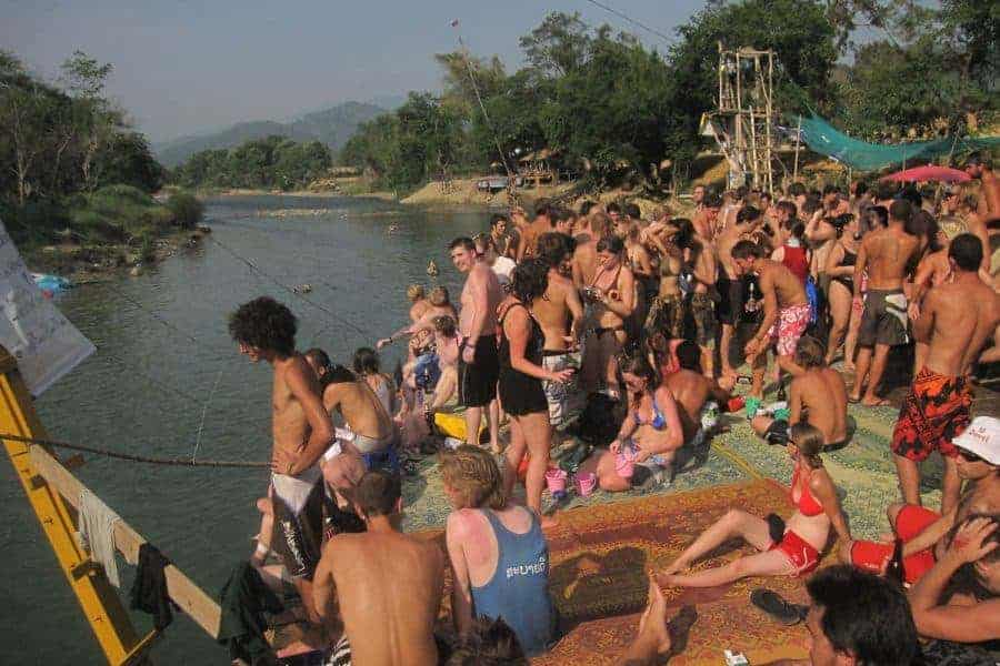 "The ""olden days"" of Tubing in Vang Vieng."