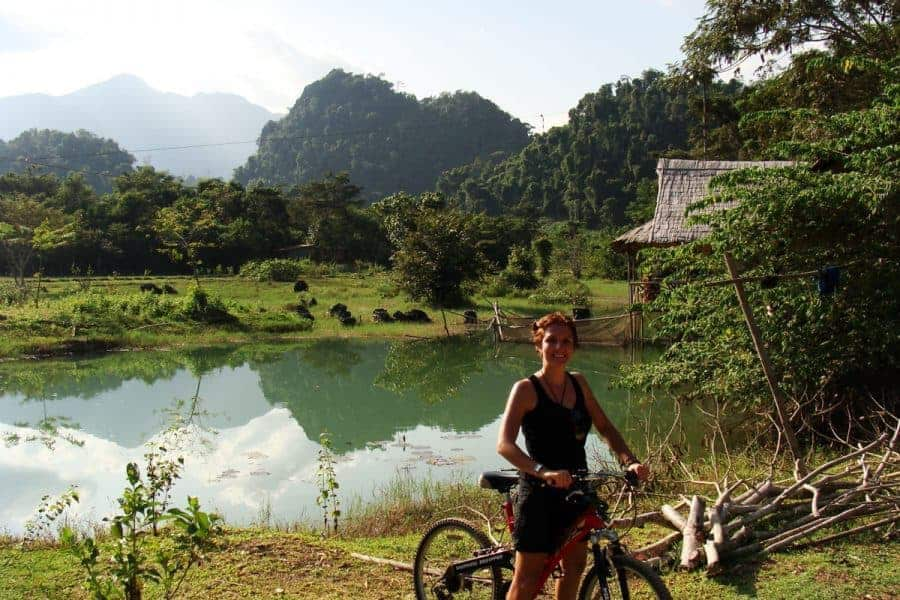 Bike next to river Vang Vieng