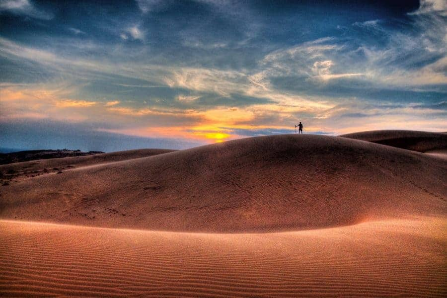 Sunset over the sand dunes in Mui Ne, Vietnam