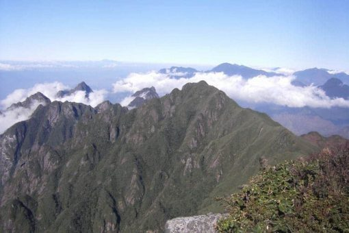 Mountains poke out above the clouds in Fansipan, Vietnam
