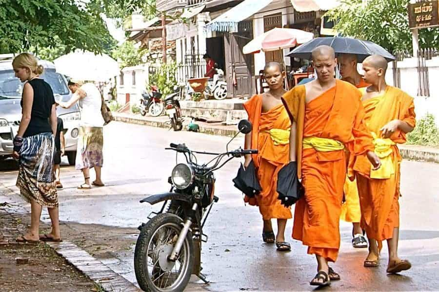 Monks on the streets of Luang Prabang, Laos.