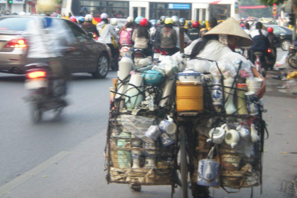 Saleswoman in Hanoi, Vietnam.