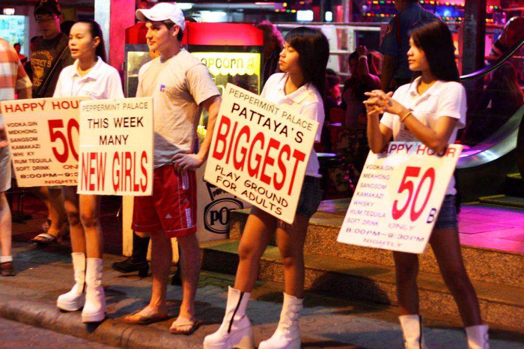 Girls outside a bar in Pattaya, Thailand.