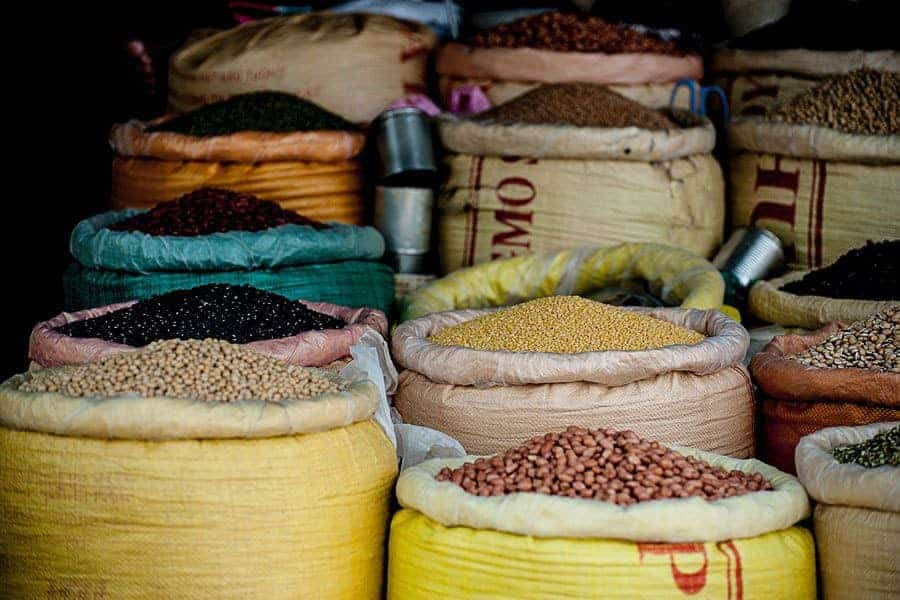 A selection of beans and pulses in sacks. A common sight in many of the cheap places to travel in Asia.