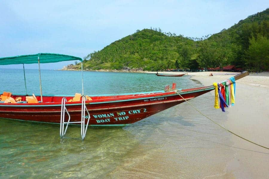 A longtail boat up close in Koh Phangan