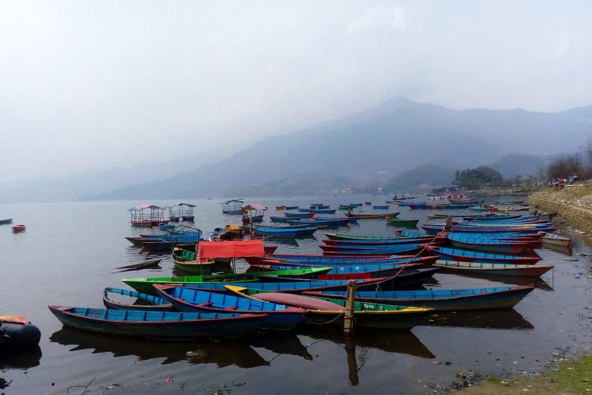 Colourful boats on Phewa Lake, Pokhara, Nepal