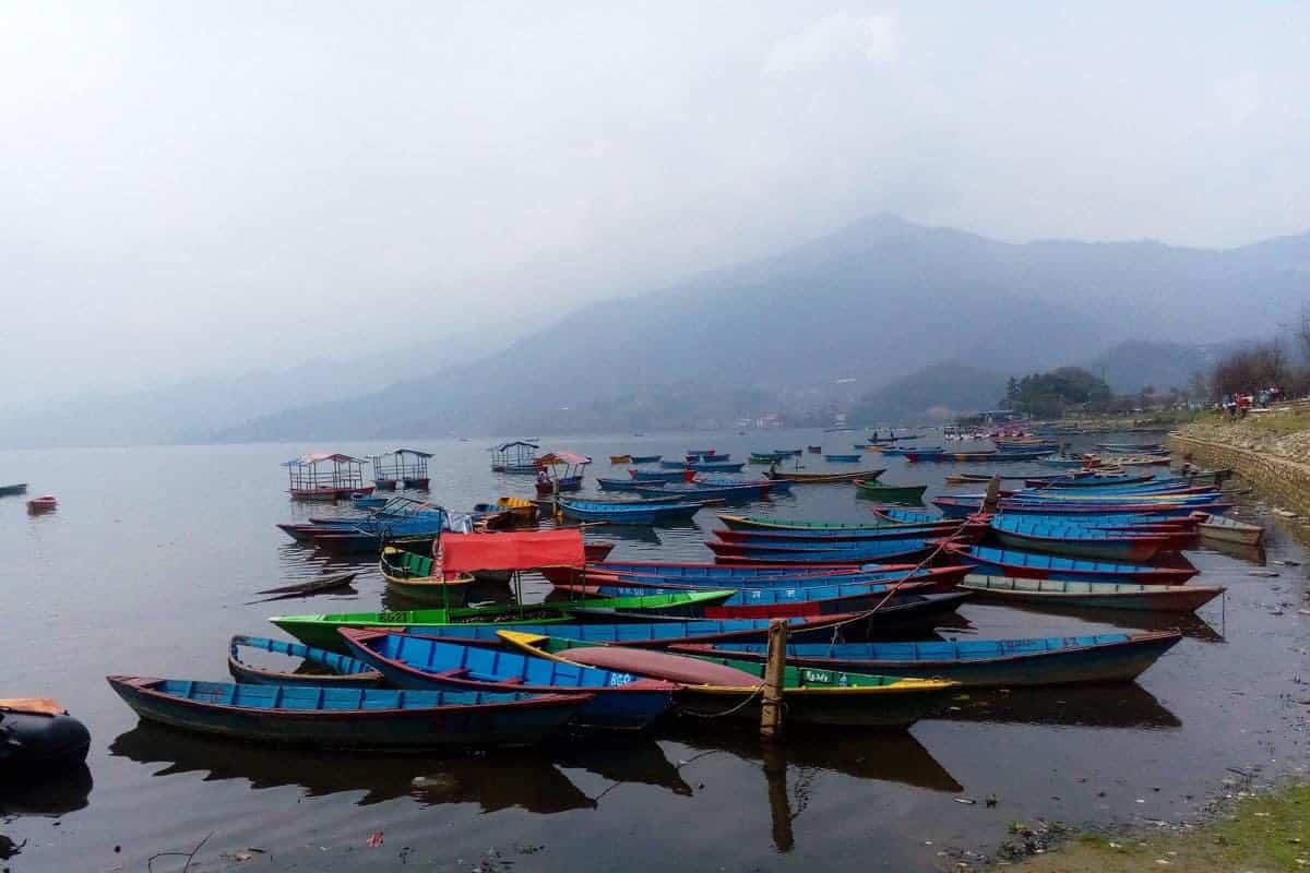 Colourful boats on Phewa Lake, Pokhara, Nepal