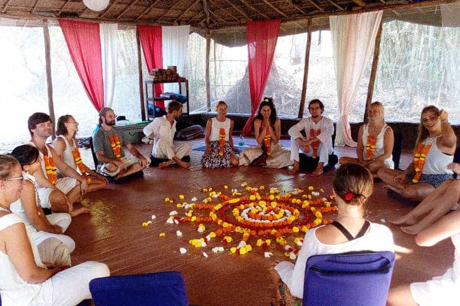 At the graduation day of our Yoga Teacher Training Course in Goa, India.