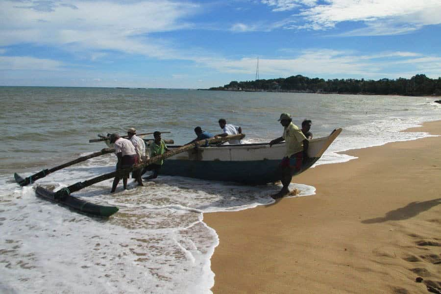 Local fishermen bring their boat to shore in Tangalla Sri-Lanka